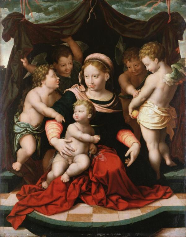 Cornelis van Cleve, Flemish, 1520-1567, Madonna and Child with the Infant Saint John the Baptist and Angels Oil on panel: 22 3/8 x 20 1/8 in. (56.8 x 51.1 cm)