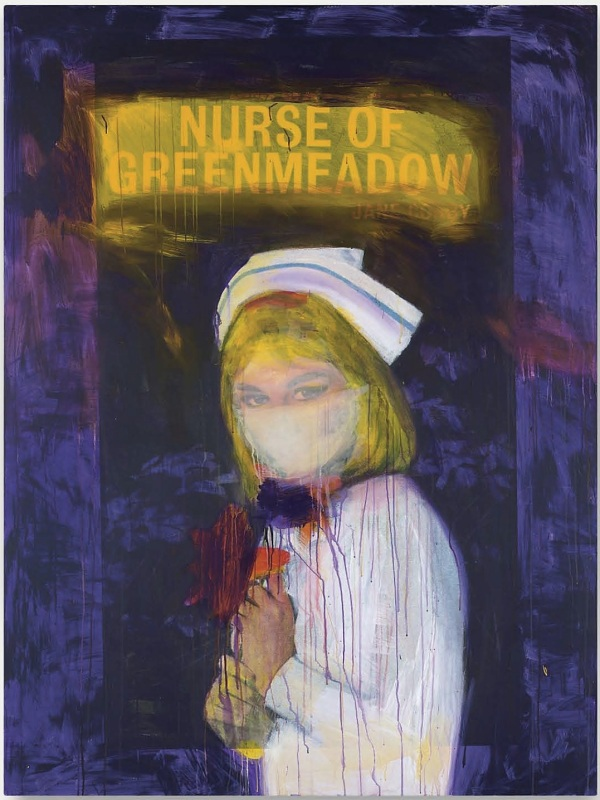 "Lot 11. Richard Prince (b. 1949)  Nurse of Greenmeadow  signed, titled and dated 'R Prince ""NURSE OF Greenmeadows 2002' (on the overlap) inkjet print and acrylic on canvas  78 x 58¼ in. (198.2 x 147.5 cm.)  Painted in 2002.  Estimate: $7-9 million."