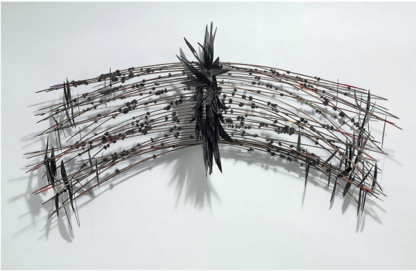 Lot 12. David Hammons (b. 1942)  Untitled  signed and dated 'Hammons 78' (on one record fragment)  bamboo, phonograph record fragments, colored string and hair  29 x 49 x 11 in. (73.6 x 124.4 x 27.9 cm.)  Executed in 1978.  Estimate: $3-4 million. Click on image to enlarge.