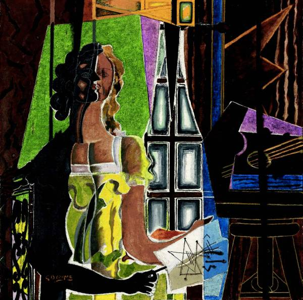 Lot 14. GEORGES BRAQUE (1882-1963) Le Modcle signed and dated 'G Braque 39' (lower left) oil and sand on canvas 39¡ x 39Ω in. (100.1 x 100.3 cm.) Painted in 1939 Estimate: $8-12 million. Click on image to enlarge.