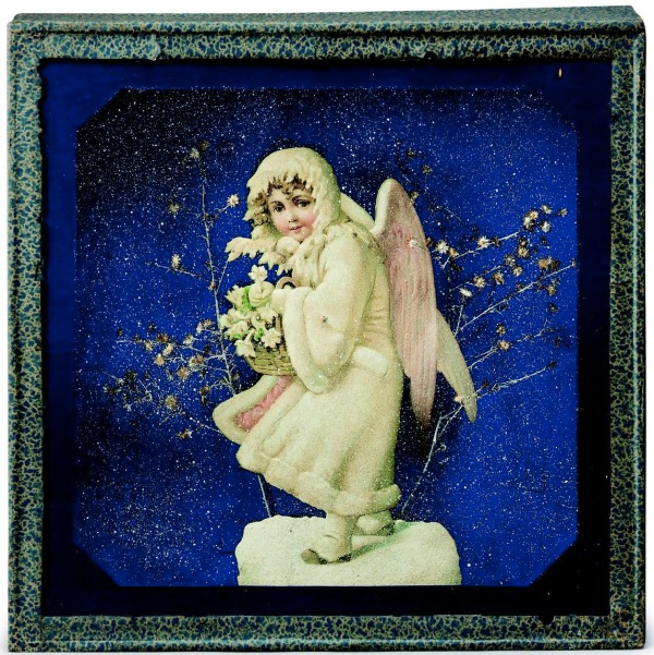Lot 2. Joseph Cornell (1903-1972)  Untitled [Snow Maiden]  box construction--wood, paper, printed paper, glass, paint and dried flowers 13 1/8 x 13¼ x 2 5/8 in. (33.3 x 33.6 x 6.6 cm.)  Executed circa 1933.  Estimate: $800,000-1,200,000. Click on image to enlarge.