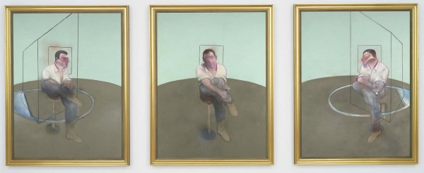 Lot 20. Francis Bacon (1909-1992)  Three Studies for a Portrait of John Edwards  signed, titled, inscribed and dated '3 Studies for a Portrait of John Edwards Francis Bacon 1984 left panel' (on the reverse of the left panel); signed, titled, inscribed and dated '3 Studies for a Portrait of John Edwards Francis Bacon 1984 center panel' (on the reverse of the center panel); signed, titled, inscribed and dated '3 Studies for a Portrait of John Edwards Francis Bacon 1984 right panel' (on the reverse of the right panel) oil on canvas, in three parts  each: 78 1/8 x 58¼ in. (198.3 x 148 cm.)  Painted in 1984.  Estimate on Request (in the region of $80 million). Click on image to enlarge.