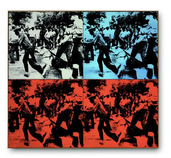 Lot 23. Andy Warhol (1928-1987)  Race Riot  signed and dated 'Andy Warhol 64' (on the overlap of the upper left panel) acrylic and silkscreen ink on linen, in four parts  overall: 60 x 66 in. (152.4 x 167.6 cm.)  Painted in 1964.  Estimate on Request. Click on image to enlarge.