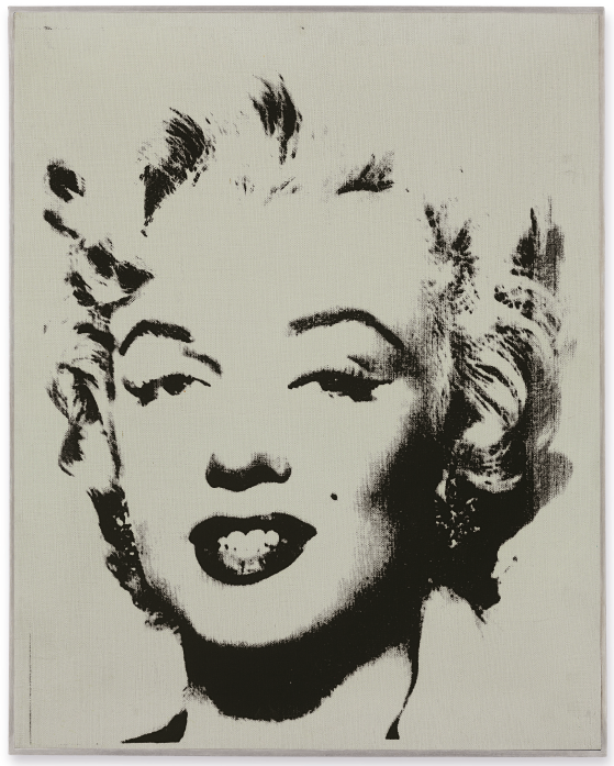 Lot 26. Andy Warhol (1928-1987)  White Marilyn  signed, dated and inscribed 'To Eleanor Ward Andy Warhol/62' (on the reverse) acrylic and silkscreen ink on linen  20 x 16 in. (50.8 x 40.6 cm.)  Painted in 1962.  Estimate: $12-18 million. Click on image to enlarge.