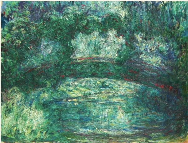 Lot 28. CLAUDE MONET 1840 - 1926 LE PONT JAPONAIS Stamped with the signature (lower right) Oil on canvas 35 1/2 by 45 3/4 in. 90 by 116.3 cm Painted 1918-24. Estimate: $12-18 million. Click on image to enlarge.
