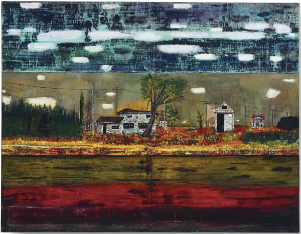 Lot 31. Peter Doig (b. 1959)  Road House  oil on canvas  76 x 98 in. (193 x 248.9 cm.)  Painted in 1991.  Estimate: $9.5-11.5 million. Click on image to enlarge.