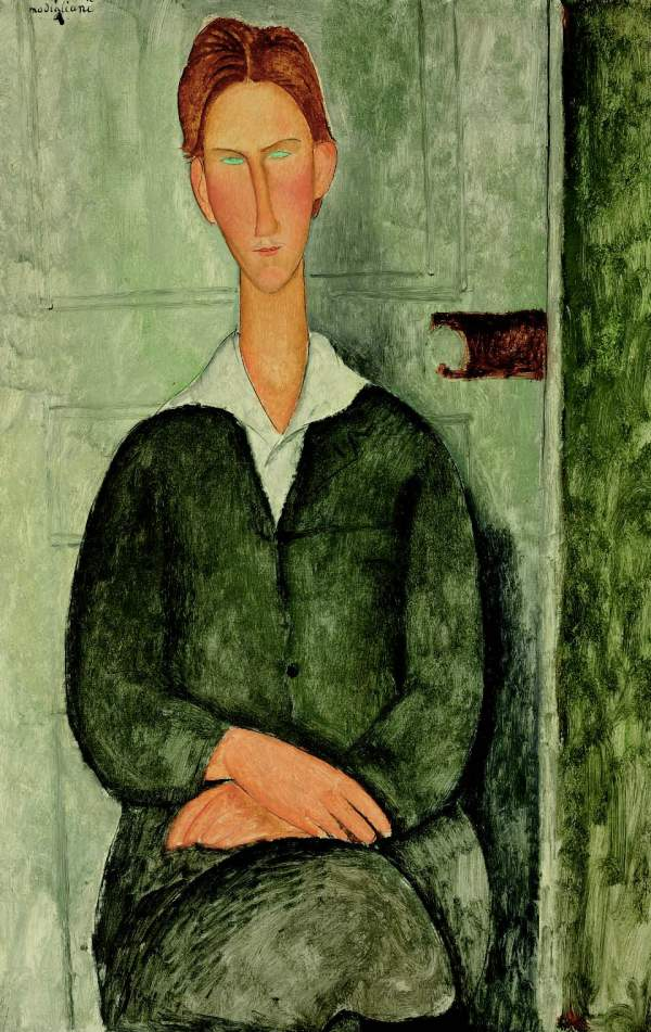 Lot 5. AMEDEO MODIGLIANI (1884-1920) Jeune homme roux assis signed 'modigliani' (upper left) oil on canvas 39Ω x 25¬ in. (100.5 x 65 cm.) Painted in 1919 Estimate: $8-12 million.