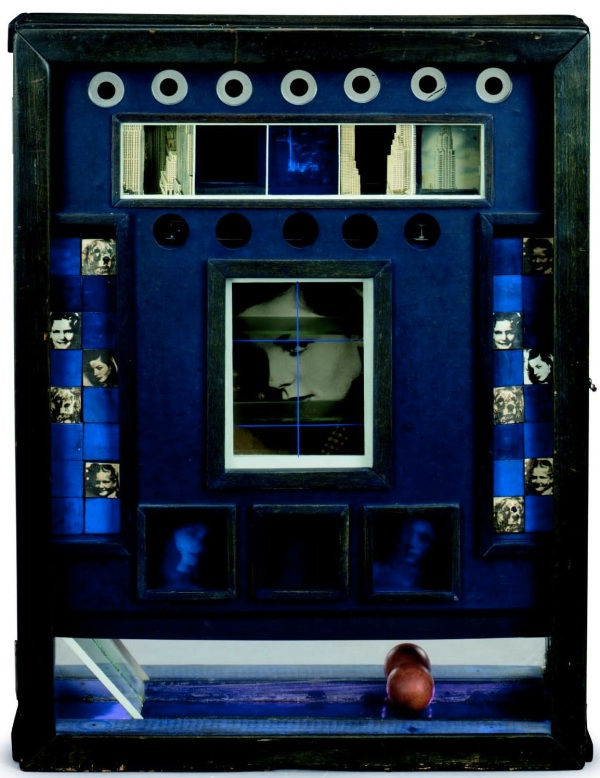 "Lot 5. Joseph Cornell (1903-1972)  Untitled (Penny Arcade Portrait of Lauren Bacall) with Penny Arcade Portrait of Lauren Bacall: Working Model Based Upon ""To Have and Have Not"" wood box construction--wood, glass, paint, tinted glass, mirror, foil paper, string, thread and printed paper collage working model-paperboard folder with photographs, photomechanical reproductions, magazine excerpts, pamphlet and notes 20½ x 17 x 3½ in. (52 x 17.7 x 8.8 cm.)  Executed circa 1945-1946. Working model executed 1945-1970.  Estimate: $4-6 million. Click on image to enlarge."