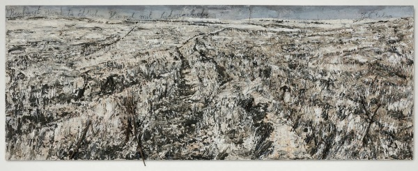 Lot 67. Anselm Kiefer (b. 1945)  Beschwert sind die östlichen Himmel mit Seidengewebe... The Eastern Skies are Laden with Silk... oil, emulsion, shellac, resin, ashes, hair and coated branches on lead laid down on canvas 82 5/8 x 220 3/8 in. (209.8 x 559.7 cm.)  Executed in 2004.  Estimate: $2-3 million. Click on image to enlarge.