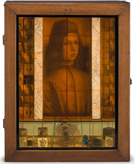 Lot 7. Joseph Cornell (1903-1972)  Medici Slot Machine  wood box construction--wood, printed paper, collage, glass, metal, mirror and marbles 14 x 11¼ x 4 in. (35.5 x 28.5 x 10.1 cm.)  Executed in 1943.  Estimate: $2.5-3.5 million.
