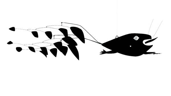 Lot 8. Alexander Calder (1898-1976)  Poisson volant (Flying Fish)  signed with initials and dated 'CA 57' (on the largest element) hanging mobile--painted sheet metal, rod and wire  24 x 89 x 40 in. (60.9 x 226.0 x 101.6 cm.)  Executed in 1957.  Estimate: $9-12 million. Click on image to enlarge.