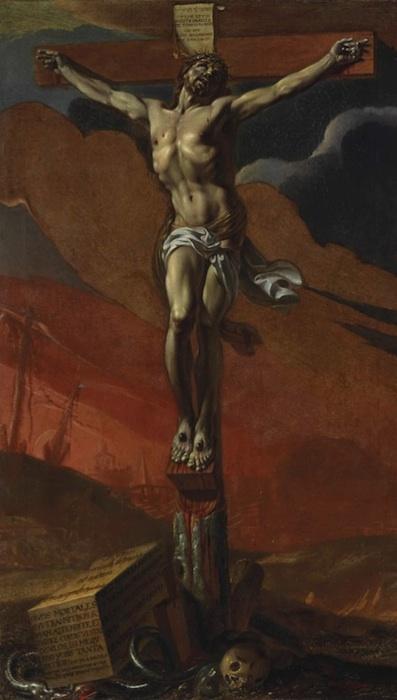 Lot 29. ADRIEN SACQUESPEE (CAUDEBEC-EN-CAUX 1629-1692)  Christ en croix  signé et daté 'Sacquespe pinxit./.1656' (sur le pied de la croix) huile sur toile  83 x 49 cm. Estimate: €15,000-20,000 ($20,642-27,523). This lot sold for a hammer price of €14,000 (or €17,500 with the buyer's premium - $24,091).