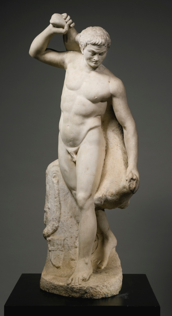 Lot 11. A MARBLE FIGURE OF A SATYR CARRYING A WINE SKIN, ROMAN IMPERIAL, CIRCA 2ND THIRD OF THE 2ND CENTURY A.D. after a Hellenistic prototype of the 1st Century B.C., stepping forward in a lively attitude, turning to his left, and holding a large wineskin across his back, his thick wavy hair bound in a fillet, his goat-skin cloak, lagobolon, and pan flute resting on the support at his feet; the right arm and top of the wineskin restored in marble. Height as restored 42 1/2 in. 108 cm. Estimate: $100,000-150,000. Click on image to enlarge.