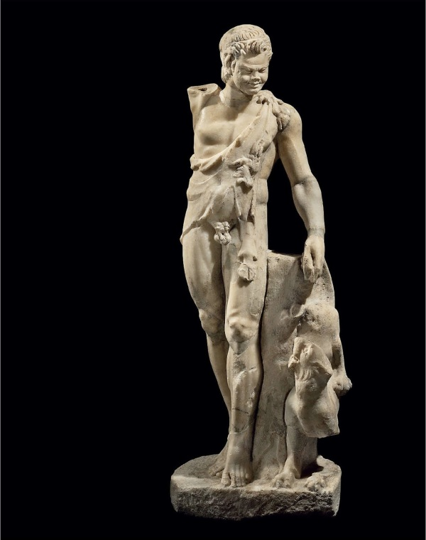Lot 121. A ROMAN MARBLE SATYR TEASING A PANTHER  CIRCA 2ND CENTURY A.D.  The youthful satyr stepping forward on the tips of his toes, his left leg advanced, depicted nude but for a nebris worn diagonally across his torso and over his left shoulder, one hoof at his shoulder, another descending on his left thigh, the goat's head in profile on his torso, with a muscular attenuated body, his right arm originally raised, his left lowered, pulling the panther's tail, its hind quarters raised into the air, its head turned up towards its tormentor with a snarling open mouth, a tree trunk in between them as the support, the satyr's head turned towards the panther, with equine ears and budding horns, his wavy hair bound in a diadem, the locks deeply drilled, his brow furrowed, the unarticulated eyes with thick lids and angled brows, his full lips parted, revealing teeth, all on an integral plinth 42 9/16 in. (108 cm.) high  Estimate: $200,000-300,000. Provenance Private Collection, prior to 1972. Ophiuchus Collection, New York, 1982. with Oliver Forge and Brendan Lynch, 2010 (Antiquities from the Ophiuchus Collection, no. 11).