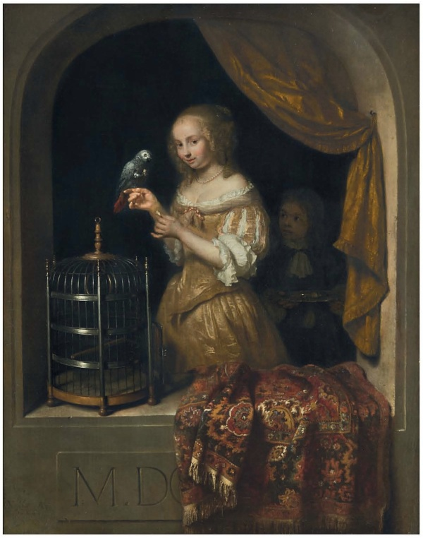 Lot 16. Caspar Netscher (?Heidelberg 1639-1684 The Hague) Woman feeding a parrot signed and dated 'CNetscher. Ao. 16.66.' (CN linked) (lower left) oil on panel 18 1/8 x 14 5/8 in. (46 x 37 cm.) Estimate: $2-3 million. Click on image to enlarge.