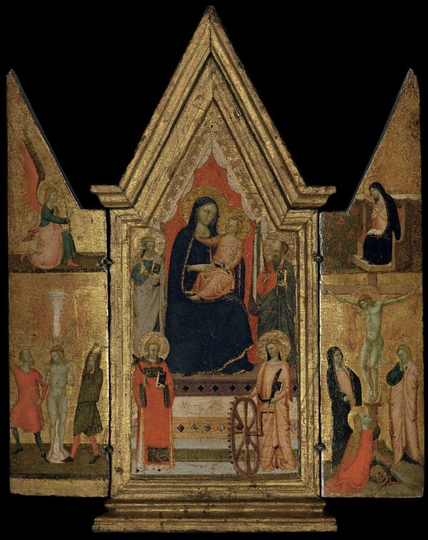 Lot 17. The Master of the Dominican Effigies (Florence, c. 1310-1350) A triptych: central panel: The Madonna and Child Enthroned, with Saints Peter, Paul, Catherine of Alexandria and another Saint; the wings: The Flagellation of Christ; and The Crucifixion, with The Annunciation tempera and gold on panel, in an integral tabernacle frame open: 23 x 18 7/8 in. (59 x 47.9 cm.); closed: 23 x 10 7/8 in. (59 x 27.7 cm.) Estimate: $200,000-300,000. Click on image to enlarge.