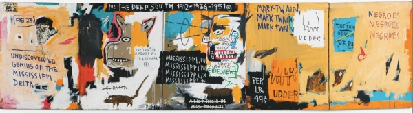 Lot 20. JEAN-MICHEL BASQUIAT 1960 - 1988 UNDISCOVERED GENIUS OF THE MISSISSIPPI DELTA titled acrylic, oilstick and paper collage on five joined canvases overall: 49 x 185 1/2 in. 124.5 x 471.2 cm. Executed in 1983. Estimate on Request.  Click on image to enlarge.