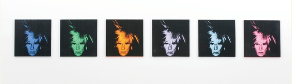 Lot 23. ANDY WARHOL 1928 - 1987 SIX SELF PORTRAITS each signed and dated 86 on the overlap acrylic and silkscreen ink on canvas each: 22 x 22 in. 56 x 56 cm. Estimate: $25-35 million. Click on image to enlarge.
