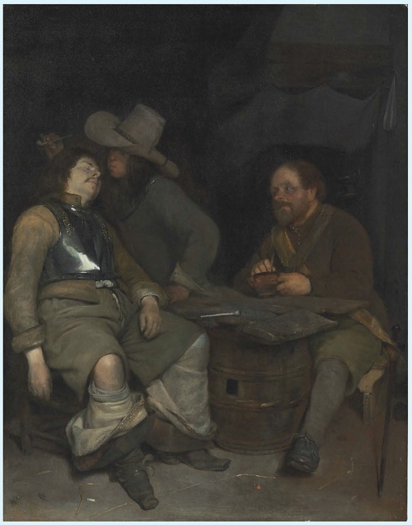 Lot 29. Gerard ter Borch (Zwolle 1617-1681 Deventer) A guardroom interior with a soldier blowing smoke in the face of his sleeping companion, a third looking on oil on panel 18½ x 14½ in. (47 x 36.8 cm.) Estimate: $60,000-80,000. Click on image to enlarge.