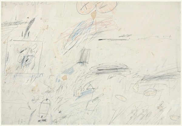 Lot 36. CY TWOMBLY 1928-2011 UNTITLED signed and dated 1959 oil, wax crayon and pencil on canvas 37 3/4 x 54 1/2 in. 95.9 x 138.4 cm. Estimate: $3.5-4.5 milllion.