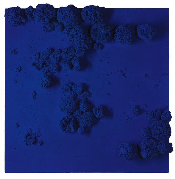 Lot 37. YVES KLEIN 1928 - 1962 RÉLIEF ÉPONGE BLEU (RE 51) signed and dated 59 on the reverse dry pigment and synthetic resin, natural sponges and pebbles on board 40 3/4 x 40 3/8 x 3 1/2 in. 103.5 x 102.5 x 9 cm. Estimate: $15-20 million.