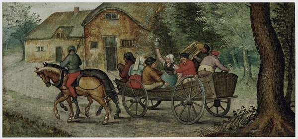 Lot 5. Pieter Brueghel II (Brussels 1564/5-1637/8 Antwerp) Peasants in an open wagon oil on panel 4½ x 9½ in. (11.5 x 24 cm.) Estimate: $300,000-500,000. Click on image to enlarge.