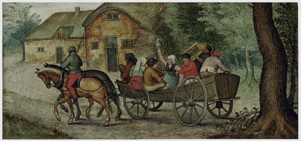 Lot 5. Pieter Brueghel II (Brussels 1564/5-1637/8 Antwerp) Peasants in an open wagon oil on panel 4½ x 9½ in. (11.5 x 24 cm.) Estimate: $300,000-500,000. Click on image to enlarge.
