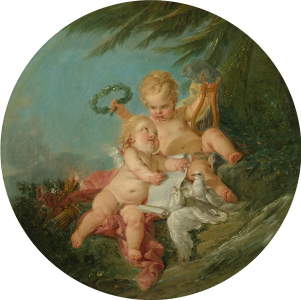 Lot 52. FRANÇOIS BOUCHER PARIS 1703 - 1770 AN ALLEGORY OF POETRY oil on circular canvas diameter: 23 1/4  in.; 59.1 cm.  Estimate: $300,000-500.000. Click on image to enlarge.