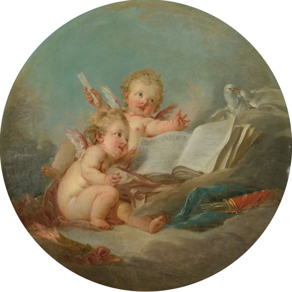 Lot 53. FRANÇOIS BOUCHER PARIS 1703 - 1770 AN ALLEGORY OF MUSIC signed center left: f boucher oil on circular canvas diameter: 23 1/4  in.; 59.1 cm.  Estimate: $200,000-300,000. Click on image to enlarge.