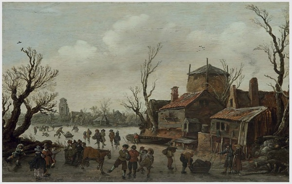 Lot 6. Jan Josefsz. van Goyen (Leiden 1596-1656 The Hague)  A winter scene with skaters and a village beyond  signed and dated 'I V GOIEN 1626' (lower right)  oil on panel  12 5/8 x 19 7/8 in. (32 x 50.5 cm.)  Estimate: $400,000-600,000. Click on image to enlarge.