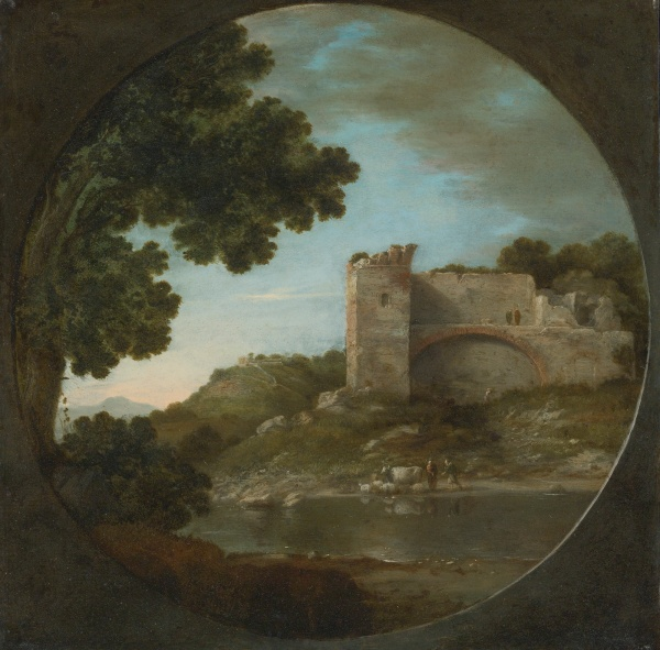 Lot 69. GOTTFRIED WALS, CALLED GOFFREDO TEDESCO COLOGNE 1590/95 - 1638/40 NAPLES AN ITALIANATE RIVER LANDSCAPE WITH SHEPHERDS WATERING THEIR FLOCK BENEATH A RUIN oil on copper, in a painted tondo 11 1/2  by 11 3/4  in.; 29.5 by 29.7 cm. Estimate: $80,000-120,000. Click on image to enlarge.
