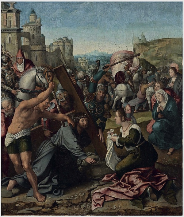 Llot 8. Studio of Bernard van Orley (Brussels c. 1488-1541)  Christ on the Road to Calvary  oil on panel  25¾ x 22 7/8 in. (65.5 x 58 cm.)  Estimate: $100,000-150,000. Click on image to enlarge.