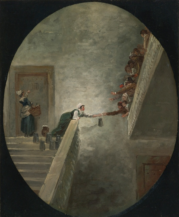 Lot 89. HUBERT ROBERT PARIS 1733 - 1808 THE DISTRIBUTION OF MILK AT SAINT-LAZARE PRISON oil on paper, mounted on canvas, in a painted oval 14 1/2  by 11 7/8  in.; 36.8 by 30.2 cm.  Estimate: $80,000-120,000. Click on image to enlarge.