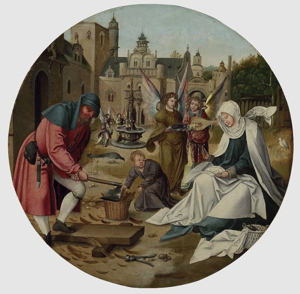 Lot 9. The Master of the Antwerp Adoration (active Antwerp c. 1505-1530) The Holy Family in a garden oil on panel, circular 23 5/8 in. (60 cm.) diameter, an approximately 1/8 in. (0.4 cm.) addition to the upper edge Estimate: $250,000-350,000. Click on image to enlarge.