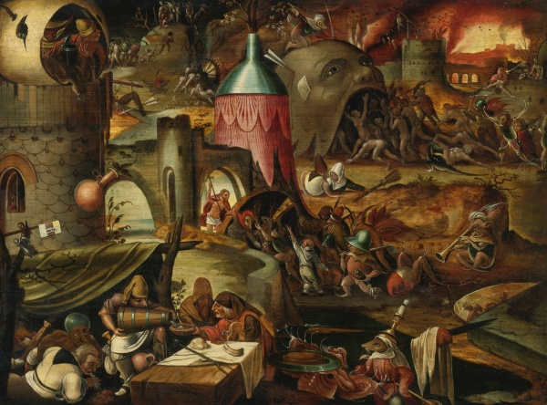 Lot 9. FOLLOWER OF JAN MANDYN THE HARROWING OF HELL oil on panel 17 3/4  by 23 3/4  in.; 45.1 by 60.3 cm. Estimate: $25,000-35,000. Click on image to enlarge.