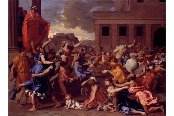Nicolas Poussin, (French, Les Andelys 1594–1665 Rome), The Abduction of the Sabine Women, probably 1633–34. Oil on canvas. Accession Number: 46.160 Click on image to enlarge.