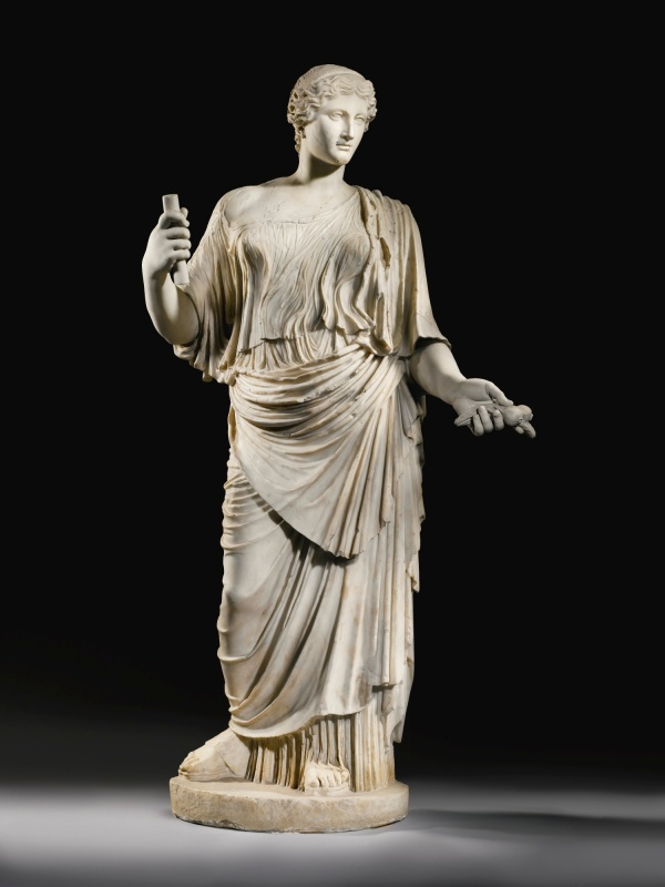 Lot 17. A MARBLE STATUE OF APHRODITE, ROMAN IMPERIAL, CIRCA EARLY 1ST CENTURY A.D. after a Greek original of circa 430-420 B.C., the goddess standing in a majestic and graceful attitude, and wearing high-soled sandals, long diaphanous chiton leaving her right shoulder bare, and long cloak falling from her left shoulder in deeply pleated folds, her oval face with parted lips and large wide-set eyes, the wavy hair parted in the center, bound in a broad braided diadem, and flowing in a long tapering tress down the nape of neck; restored in marble: part of proper right earlobe, tip of nose, both forearms with attributes, small parts of drapery, and other minor areas 203.2cm., 80in. high Estimate: 4-6 million ($6,771,600 - 10,157,400) Click on image to enlarge. Provenance Cardinals Paolo Emilio Cesi (1481-1537) and Federico Cesi (1500-1565), garden of the Palazzo Cesi on the Janiculum, Rome, acquired prior to 1550; Robert and James Adam (1728-1792 and 1732-1794), Rome and London (Christie's, London, March 1st, 1773, lot 51 (Antique Statues in Marble, p. 15); Sir Hugh Percy, 1st Duke of Northumberland (1714–1786), Syon House, Middlesex, acquired from the above; by descent to the present owner until the present day, Syon House, Middlesex