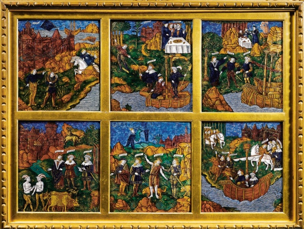 Lot. 2 MASTER OF THE AENEID (ACTIVE CIRCA 1530-1535) FRENCH, LIMOGES, CIRCA 1530 SIX PANELS REPRESENTING SCENES FROM BOOK VIII OF THE AENEID painted enamel on copper with gilt highlights, within a later glazed partially gilt wood frame panels: 21 by 19.5cm., 8¼ by 7¾in. each frame: 65.5 by 82cm., 25¾ by 32¼in. Estimate: 800,000-1,200,000. Click on image to enlarge.