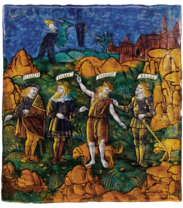 E: Venus making a sign with thunder and the flashing of arms and armour in the heavens to Evander and Pallas with Aeneas and Achates. Click on image to enlarge.