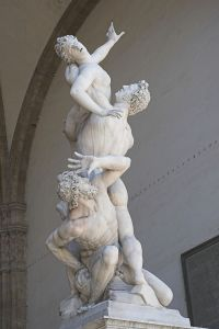The Rape of the Sabine Women by Giambologna, in the Loggia dei Lanzi in Florence. Click on image to enlarge.