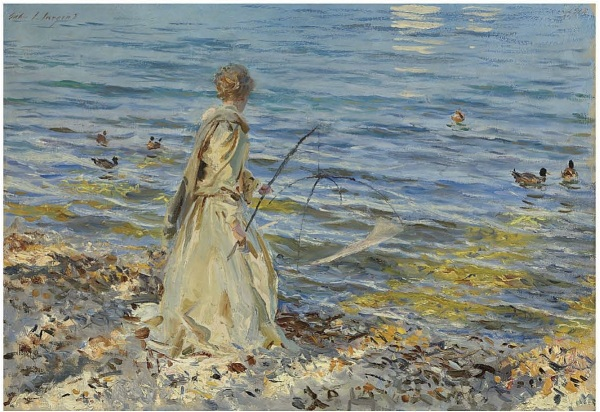 Lot 100. John Singer Sargent (1856-1925)  Girl Fishing  signed 'John S. Sargent' (upper left)--dated '1913' (upper right)  oil on canvas  19½ x 28¼ in. (49.6 x 71.8 cm.)  Estimate: $3-5 million. Click on image to enlarge. Provenance The artist. M. Knoedler & Co., London, acquired from the above, 1913. Charles S. Carstairs, 1914. Daniel Farr, Philadelphia, Pennsylvania. Stephen C. Clark, New York. M. Knoedler & Co., New York, acquired from the above, 1929. Anna Eugenia La Chapelle, New York, 1929. By descent to the late owner.