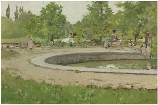Lot 101. William Merritt Chase (1849-1916)  A Water Fountain in Prospect Park  signed 'Wm.M. Chase.' (lower left)  oil on panel  6¼ x 9½ in. (15.9 x 24.1 cm.)  Painted circa 1886.  Estimate: $500,000-700,000. Click on image to enlarge. Provenance The artist. Senator William Andrews Clark, (possibly) gift from the above. By descent to the late owner.
