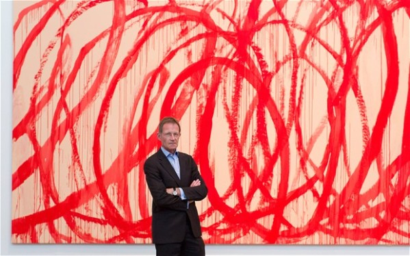 Director of the Tate Sir Nicholas Serota in front of 'Untitled (Bacchus) 2006-2008, Acrylic on canvas' by Cy Twombly Photo: Justin Tallis/PA