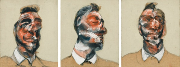 Lot 15. FRANCIS BACON 1909 - 1992 THREE STUDIES FOR PORTRAIT OF GEORGE DYER (ON LIGHT GROUND) oil on canvas, in three parts each: 35.5 by 30cm.; 14 by 12in. Executed in 1964. Estimate: 15-20 million. Click on image to enlarge.