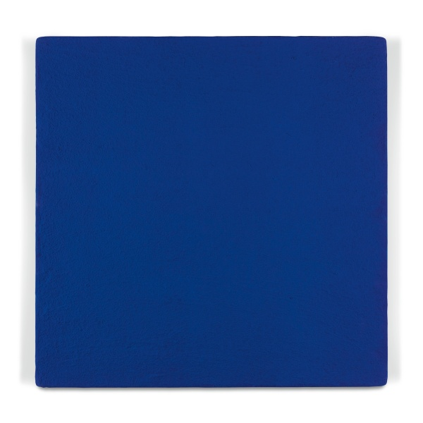 Lot 18. YVES KLEIN 1928 - 1962 UNTITLED BLUE MONOCHROME (IKB 271)  dated 1960 and dedicated Bertini avec l'amitie de Yves Klein on the overlap dry pigment and synthetic resin on linen mounted on panel 50 by 50cm.; 19 3/4 by 19 3/4 in. Estimate: 2.5-3.5 million. Click on image to enlarge.