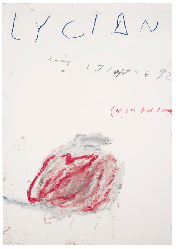 Lot 24. CY TWOMBLY (1928 - 2011) LYCIAN DRAWING (NIMPHIDIA) signed with the artist's initials, titled and dated Sept 26 82  oil, crayon and pencil on Fabriano paper 100 by 70cm.; 39 3/8 by 27 1/2 in. Estimate: £650,000-850,000. Click on image to enlarge.