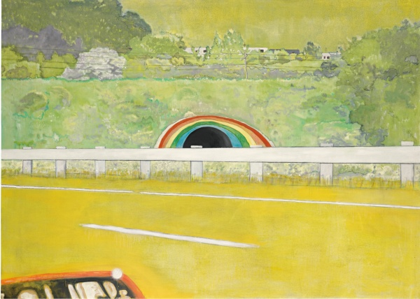 Lot 27. PETER DOIG B.1959 COUNTRY-ROCK (WING-MIRROR) signed, dated 1999 and variously inscribed on the reverse oil on canvas 194.9 by 270cm.; 76 3/4 by 106 1/2 in. Estimate in excess of 9 million. Click on image to enlarge.