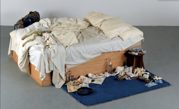 Lot 19. TRACEY EMIN (B. 1963) My Bed mattress, linens, pillows and objects  31 x 83 x 92 1/8in. (79 x 211 x 234cm.)  Executed in 1998 Estimate: £800,000-1,200,000 ($1,362,400-2,043,600) Click on image to enlarge.