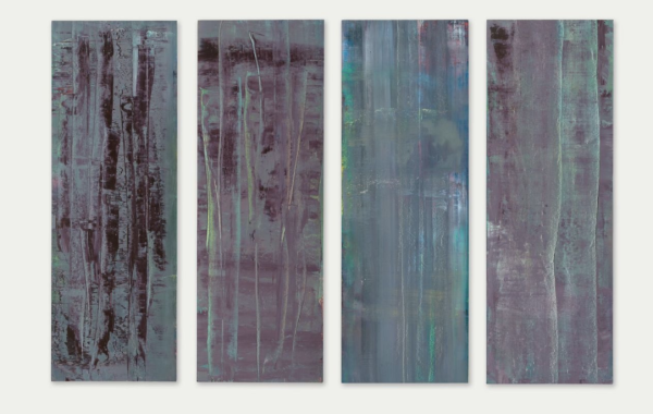 Lot 48. Gerhard Richter (b. 1932) Abstrakte Bilder  each: signed, dated and numbered sequentially '760-1-4 Richter 1992' (on the reverse)  oil on canvas, in four parts each: 78 ¾ x 27 ½in. (200 x 70cm.)  Painted in 1992 Estimate: £4-6 million ($6,812,000-10,218,000)