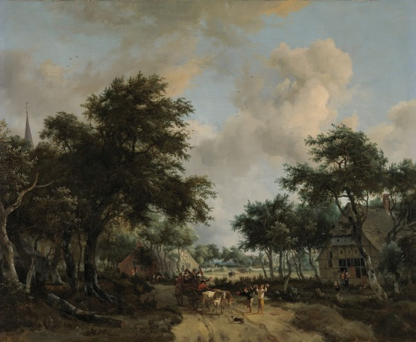 Wooded Landscape with Merrymakers in a Cart, Meindert Hobbema, c. 1665. Click on image to enlarge.
